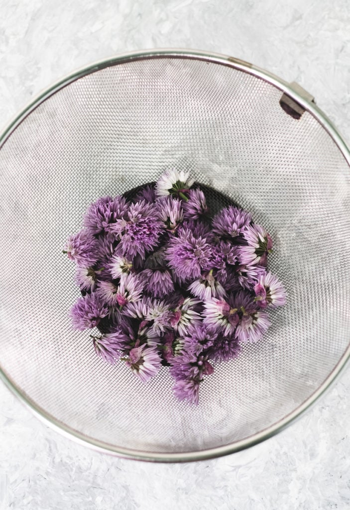 A mesh strainer with a handful of freshly picked and rinsed chive flowers.