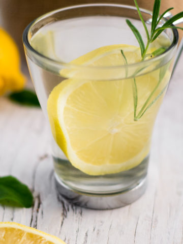 A glass tea mug filled with water, a slice of lemon and a sprig of rosemary.